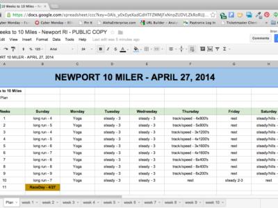 Newport 10 Miler Training Plan